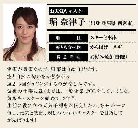 お天気キャスター 堀 奈津子